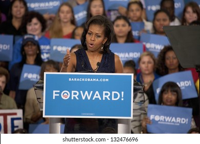 LAS VEGAS - OCTOBER 26: Michelle Obama speaks at President Obama`s campaign rally on October 26, 2012 at Orr Middle School in Las Vegas, Nevada.
