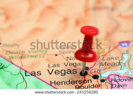 Las Vegas Pinned On Map USA Stock Photo (Edit Now) 243258280 ...
