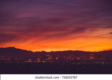 Las Vegas Scenic Skyline Sunset. City Panorama with Strip on Horizon. Nevada, United States of America.
