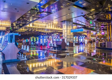 LAS VEGAS - SEP 03 : The interior of Aria Resort and Casino in Las Vegas onSeptember 03 2015. The Aria was opened on 2009 and is the world's largest hotel to receive LEED Gold certification