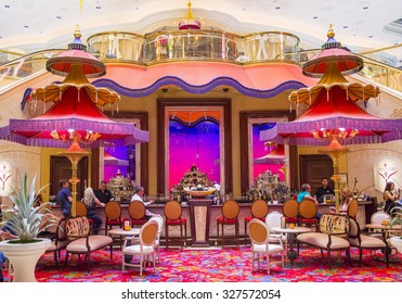LAS VEGAS - SEP 10 : The Parasol Down bar at the Wynn Hotel and casino in Las vegas on September 10 2015. The Wynn hotel has 2,716 rooms and it opened in 2005.