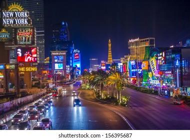 LAS VEGAS - SEP 15 : View of the strip on September 15 , 2013 in Las Vegas. The Las Vegas Strip is an approximately 4.2-mile (6.8 km) stretch of Las Vegas Boulevard in Clark County, Nevada.