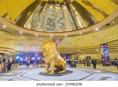 LAS VEGAS - SEP 18 : The interior of MGM hotel and casino on September 18, 2014 in Las Vegas. The MGM Grand is the third largest hotel in the world and the largest hotel resort complex in the USA