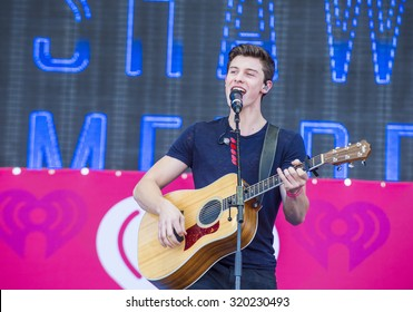 LAS VEGAS - SEP 19 : Singer Shawn Mendes performs onstage at the 2015 iHeartRadio Music Festival at the Las Vegas Village on September 19, 2015 in Las Vegas, Nevada.