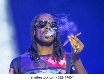 LAS VEGAS - SEP 26 : Rapper Snoop Dogg performs onstage during day 2 of the 2015 Life Is Beautiful Festival on September 26, 2015 in Las Vegas, Nevada.