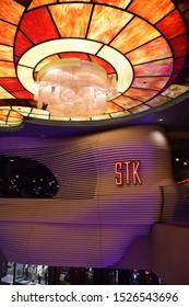Las Vegas, September 2019 - STK, famous luxury restaurant at Cosmopolitan Resort & Casino in Las Vegas, Nevada