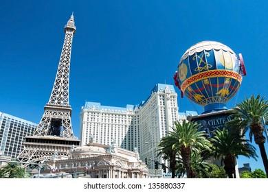 LAS VEGAS - SEPTEMBER 28: Eiffel Tower with Montgolfier Balloon on the Las Vegas Strip on September 28, 2011 in Las Vegas, USA. Replica of the Eiffel Tower is 541 ft (165 m) tall.