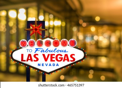 Las vegas sign with blur light bokeh background