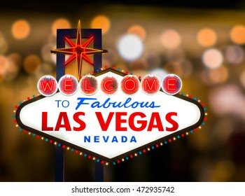 Las vegas sign with blur light background