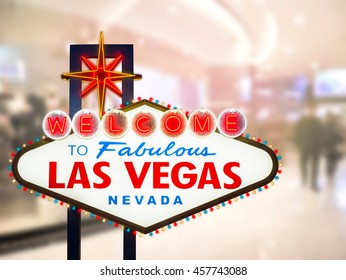 Las vegas sign with blurred abstract background