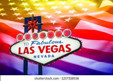 Las vegas sign with crumpled of United states of America flag  background