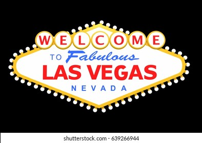 Las Vegas Sign Isolated on Solid Black. 3D Rendered Illustration.