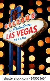 Las Vegas Sign with light bokeh background