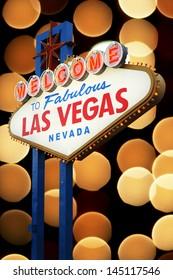 Las Vegas Sign with light bokeh background