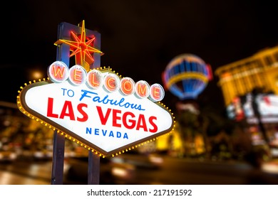 Las vegas sign and strip street background.