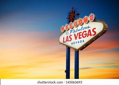 Las Vegas Sign at sunset - Shutterstock ID 145063693