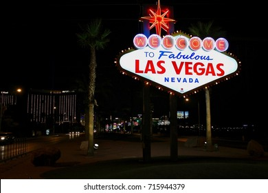 Las Vegas sign, USA, NEVADA, by night, August, 1, 2017