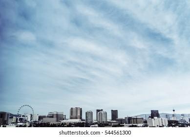 Las Vegas Skyline Background with Blue Skies
