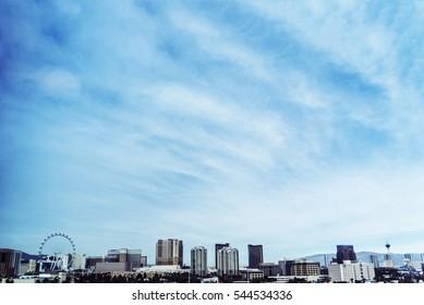 Las Vegas Skyline Background with Vibrant Blue Skies