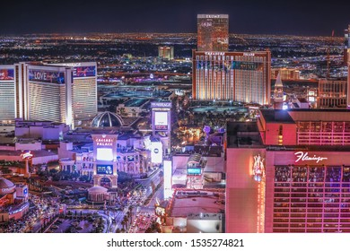 Las Vegas skyline at night. — Captured from the Eiffel Tower at the Paris Hotel and Casino on 3/10/2019.