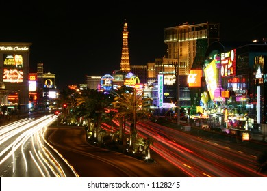 Las Vegas Strip at night with traffic blurred