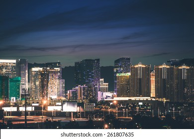 Las Vegas Strip Panorama. Vegas Skyline at Night. Nevada, United States.