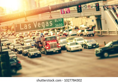 Las Vegas Strip Traffic. Afternoon Commute. Nevada, United States of America.