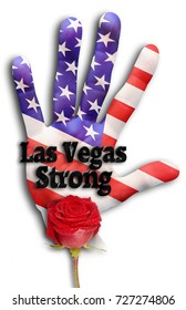 Las Vegas Strong with hand and red rose.