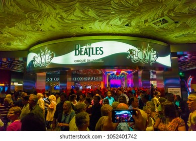 Las Vegas, United States of America - May 06, 2016: The people going near entrance to The Beatles Cirque du Soleil Theater Love Show at The Mirage hotel at Las Vegas, United States of America on May
