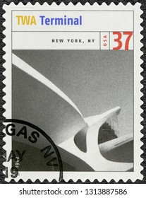 LAS VEGAS, UNITED STATES OF AMERICA - MAY 19, 2005: A stamp printed in USA shows Terminal Trans World Flight Center 1962, New York NY, series Masterworks of Modern American Architecture, 2005