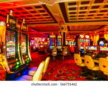 Las Vegas, United States of America - May 06, 2016: Slot machines at the Wynn Hotel and casino