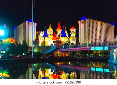 Las Vegas, United States of America - May 05 2016: The Excalibur Hotel and Casino in Las Vegas on May 05 2016 at night. The Hotel was named after King Arthur's sword and opened in 1990