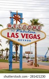 Las Vegas- United States, July 9, 2014: Fabulous Vegas - Welcome to Fabulous Las Vegas in Nevada State. Las Vegas Strip Entrance Sign in Las Vegas in July 9, 2014, United States of America