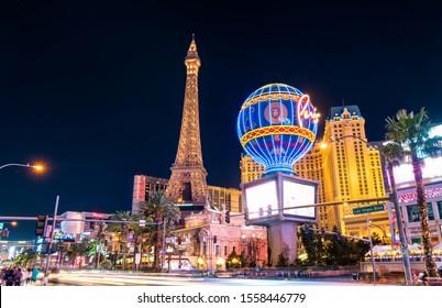 Las Vegas, United States - March 19, 2019: Paris Las Vegas, a hotel and casino on the Las Vegas Strip