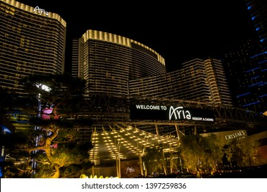 Las Vegas, United States, November 2013: night view of the Aria hotel, luxury restort and casino, located on the strip in Las Vegas, Nevada