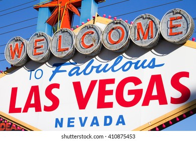 LAS VEGAS, UNITED STATES - OCTOBER 20, 2012 -  The famous sign of the most famous gambling city of Las Vegas world in the United States