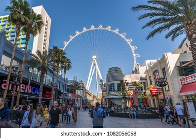 Las Vegas, US - April 27, 2018: Tourists visting the LInq promenade in Las Vegas as seen on a sunny day