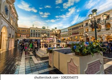 Las Vegas, US - April 27, 2018: Tourists visting the famous Venician hotel and indoor St. Mark's square in Las Vegas