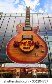 LAS VEGAS, US - JULY 7 2015: Sign of the Hard Rock Coffee  in Las Vegas Strip  US. Besides casinos and hotels, there are many attractions in The Strip as the Hard Rock Coffee.