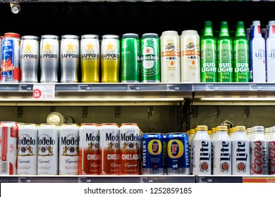 Las Vegas, US - NOV 18, 2018: Wide selection of domestic and imported beer on shelf display in a convenient store at Las Vegas, Nevada, United States