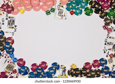 Las Vegas. USA. 07.18.11. Border of gambling chips, cards and dice with space for text.