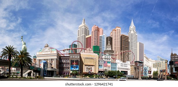Las Vegas, USA - 18 April 2012: A panorama of the famous Las Vegas Strip showing the New York, New York Hotel with a replica Staue of Liberty. Photostitch of 6 images.
