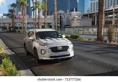 Las Vegas, USA - 25.08.17: a spy photography of Hyundai Santa Fe, scheduled to be released in 2018, spotted in centre of Las Vegas. The SUV was tested at the time, while wearing a camouflage wrap.