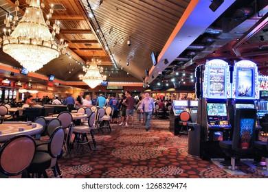 LAS VEGAS, USA - APRIL 13, 2014: People visit Hooters casino. There are 104 casinos in Las Vegas.