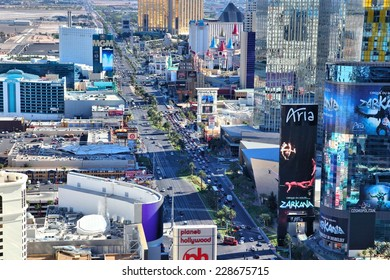 LAS VEGAS, USA - APRIL 14, 2014: Aerial view of The Strip in Las Vegas. Among 25 largest hotels in the world, 15 are located on Las Vegas Strip.