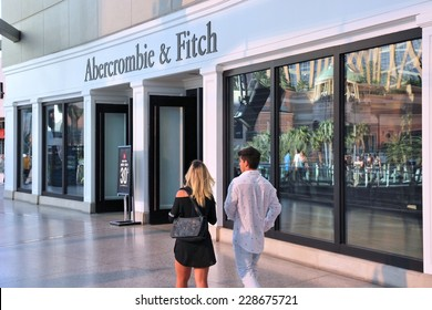 LAS VEGAS, USA - APRIL 14, 2014: People walk by Abercrombie and Fitch store in Las Vegas. Abercrombie and Fitch dates back to 1892 and had 1006 locations as of 2014.