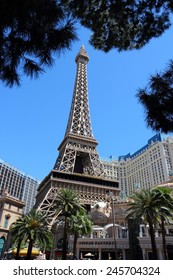 LAS VEGAS, USA - APRIL 14, 2014: Paris Las Vegas hotel view in Las Vegas. The hotel is among 30 largest hotels in the world with 2,916 rooms.