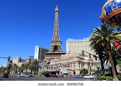 LAS VEGAS, USA - APRIL 14, 2014: People visit Paris Las Vegas casino hotel in Las Vegas. The hotel is among 30 largest hotels in the world with 2,916 rooms.