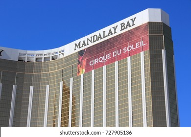 LAS VEGAS, USA - APRIL 14, 2014: Mandalay Bay resort view in Las Vegas. It is one of 20 largest hotels in the world with 3,309 rooms.