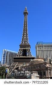 LAS VEGAS, USA - APRIL 14, 2014: Paris Las Vegas casino hotel in Las Vegas. The hotel is among 30 largest hotels in the world with 2,916 rooms.